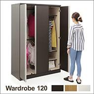 ワードローブ クローゼット 服吊 幅120 大容量収納 シンプル 北欧 モダン 選べる 2色 完成品