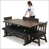 ダイニングテーブルセット 6点 7人掛け ベンチ 和 和風 回転チェアー 無垢 天然木 モダン
