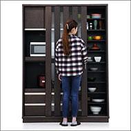 食器棚 完成品 引き戸 ブラウン 幅140 和 モダン 人気