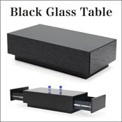 ブラック ガラス センターテーブル ローテーブル リビングテーブル 幅110 両サイド 引き出し付き 収納 強化ガラス おしゃれ 黒 北欧 モダン 人気