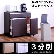 ダストボックス ダストカウンター 3分別ダストボックス キッチンカウンター レンジ台 キッチン収納 幅100cm 大容量の45Lペール付き 木製 完成品 国産