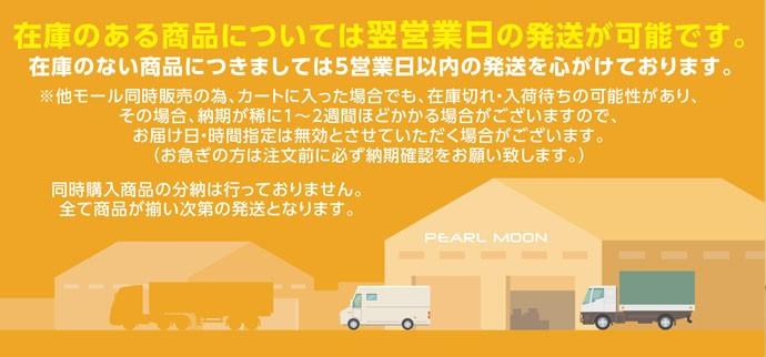在庫のある商品については翌営業日の発送が可能です。