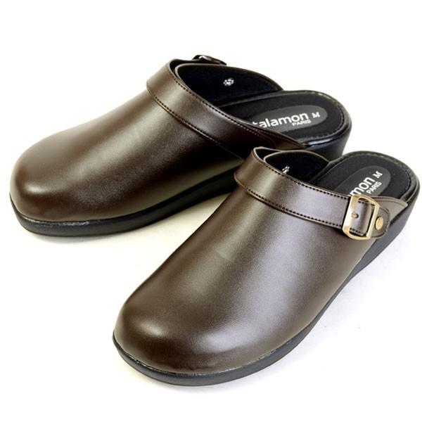 メンズ サンダル クロッグサンダル 2WAY 日本製 カジュアル オフィス 室内履き ヒール3.5cm ブラック チョコ 24040|pennepenne|07