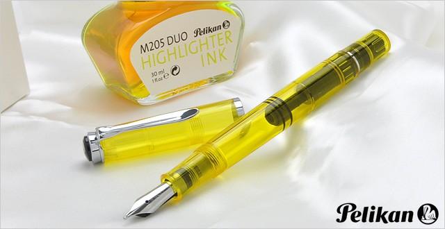 ペリカン 万年筆 特別生産品 M205 DUO イエローデモンストレーター(ハイライターインク付)