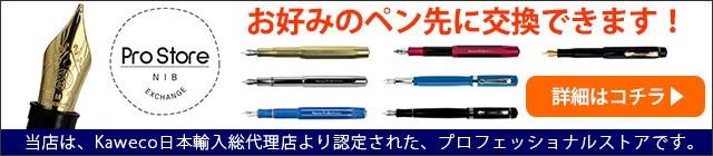 当店は、Kaweco日本輸入総代理店より認定された、プロフェッショナルストアです。万年筆の種類にあわせてお好みの字幅・素材のペン先に交換することができます。