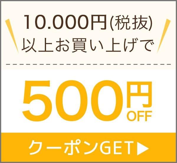 10,000円(税抜)以上のお買上げで使える500円OFFクーポン!