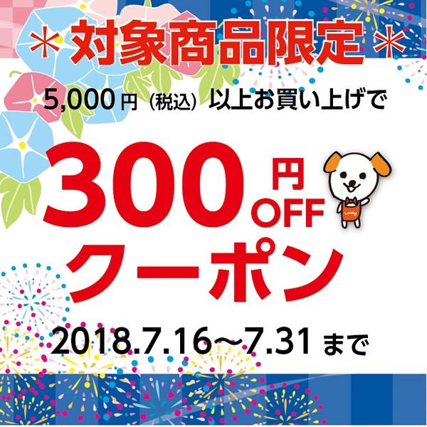 対象商品限定☆5000円以上で300円OFF!
