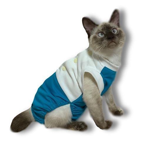 猫術後服 猫保護服  猫用術後ウェア 引っかき 噛みつき対策 M|petanimals|11