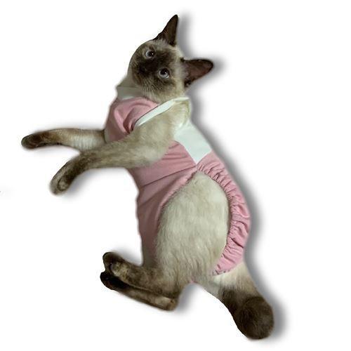 猫術後服 猫保護服  猫用術後ウェア 引っかき 噛みつき対策 M|petanimals|10