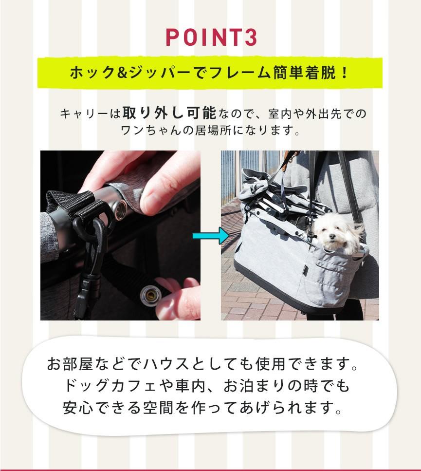 point3ホック&ジッパーでフレーム簡単着脱!