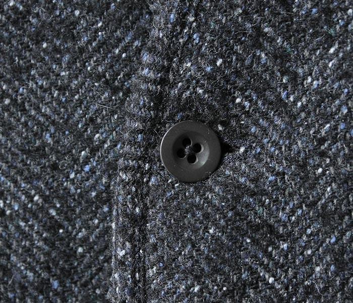 [送料無料]フランクリーダー/FRANK LEDER ドイツ製 ヘリンボーンウール カーディガン NAVY NEP HERRINGBONE WOOL (0027006-CARDIGAN)