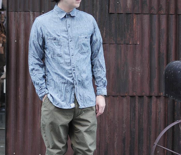 [送料無料]オアスロウ(オアスロー)/orSlow 日本製 ワークシャンブレーシャツ (01-8070)