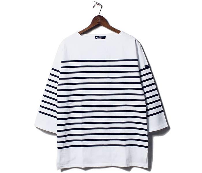 [送料無料]セントジェームス/SAINT JAMES フランス製 ''7分袖ナバル'' ボーダーTシャツ 半袖バスクシャツ (NAVAL-7BU-01JC1239-1)