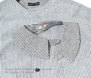 [送料無料]フランクリーダー/FRANK LEDER ドイツ製 ''デタッチャブルカラー''ストライプコットン/リネンシャツ(0516091)