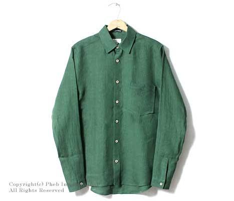 [送料無料]フランクリーダー/FRANK LEDER ドイツ製 ''GREEN INKED HEMP/LINEN''レギュラーカラーシャツ(0716024)