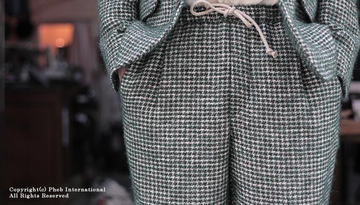 [送料無料]フランクリーダー/FRANK LEDER ドイツ製 GREEN DOG TOOTH WOOL グリーン ドッグトゥース ウール イージーパンツ (0823016)