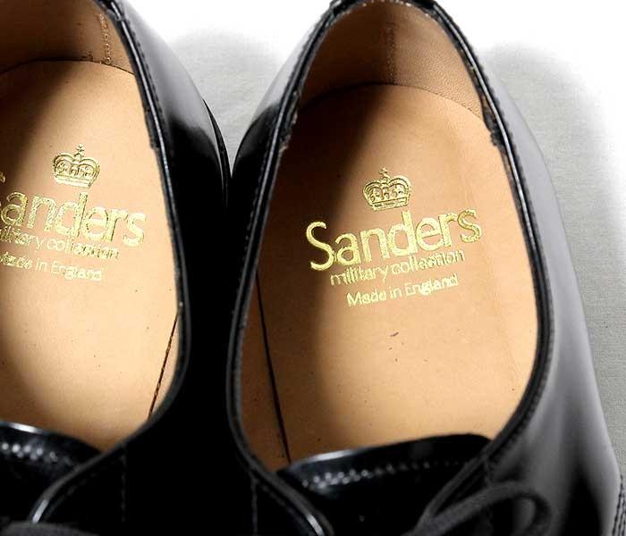 [送料無料]サンダース/SANDERS 英国製 ''ブラック'' ミリタリー サービスシューズ プレーントゥ オフィサーシューズ(1384-BLACK)