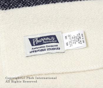 フェローズ/PHERROW'S(PHERROWS カラーボーダーウールブランケットマフラー【13W-HB-BM】