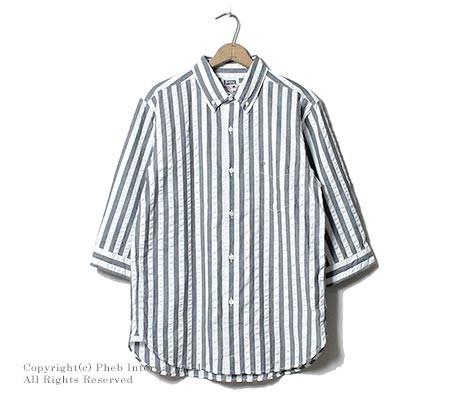 [送料無料]フェローズ/PHERROW'S(PHERROWS) 日本製 サッカーストライプ 7分袖 ボタンダウンシャツ(16S-P7BD2)