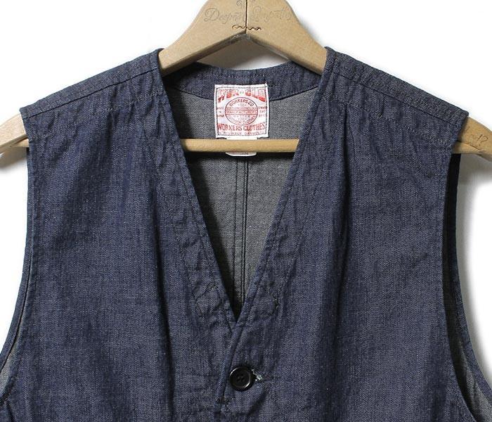 [送料無料]ワーカーズ/WORKERS 日本製 ''8OZ DENIM'' ハンティングベスト HUNTING VEST (1703-HUNTING-VEST-DENIM)