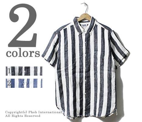 [送料無料]フェローズ/PHERROW'S(PHERROWS) 日本製 ワイドストライプ 半袖ボタンダウンシャツ (17S-PBDS2-ST)