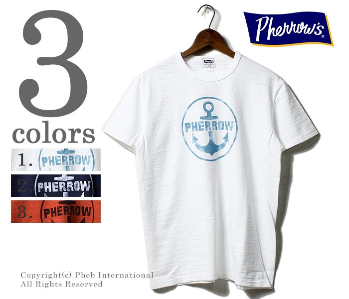 フェローズ/PHERROW'S(PHERROWS) 日本製 アンカーマーク プリントTシャツ スラブボディ (18MS-PST3)