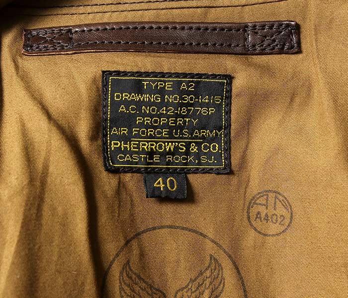 [送料無料]フェローズ/PHERROW'S(PHERROWS) 日本製 限定生産 サンダーバードカスタム A-2 A2 レザーフライトジャケット (18W-A-2-PATCH)