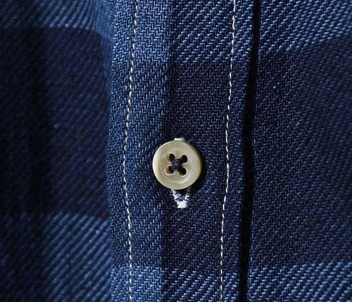 フェローズ PHERROW'S 日本製 インディゴチェック ボタンダウンシャツ ブロックチェック (19S-PBD2-IND-CH)