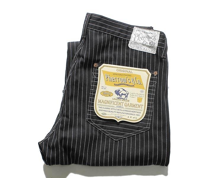 [送料無料]フェローズ/PHERROW'S(PHERROWS) 日本製 ブラックウォバッシュ '30年代モデル ワークパンツ (333WP-BLACK-WABASH)