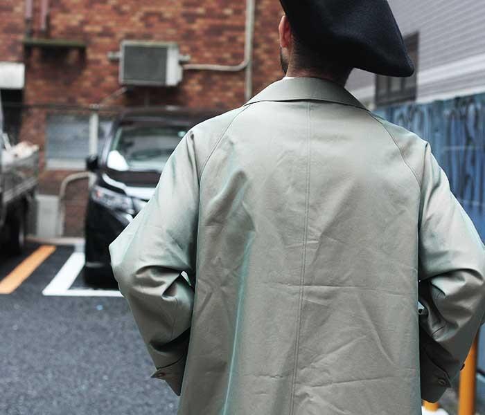 アナトミカ ANATOMICA 日本製 コート シングルラグラン 1 ギャバジン ステンカラーコート オリーブ (530-521-25-OLIVE)