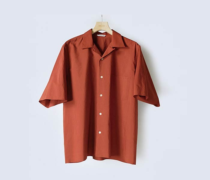[送料無料]オーラリー/AURALEE 日本製 セルビッチ ウェザークロス オープンカラー 半袖シャツ SELVEDGE WEATHER CLOTH HALF SLEEVED SHIRTS (A8SS02WC/A00S02WC-SS-SHIRTS)