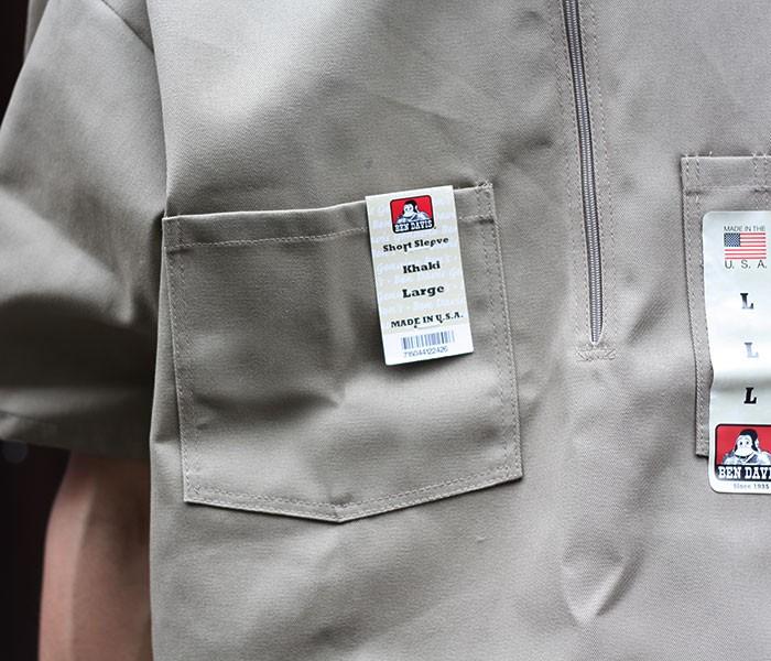 ベンデイビス/BEN DAVIS アメリカ製 半袖 ハーフジップシャツ (BDUS-7100-HALFZIP-SHORT)
