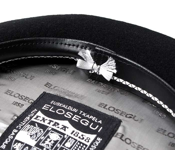 [送料無料]エロセギ/ELOSEGUI ベレー帽 バスクベレー ''12.5/13.5インチ展開'' 箱付き ライニング レザー製ヘッドバンド テフロン加工ウール (1858-CONFORRO-BADANA-PIEL)