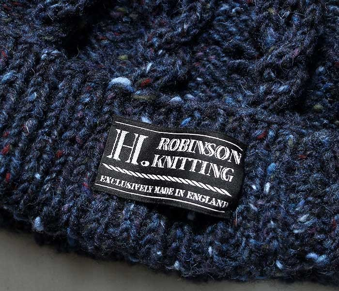 H.ロビンソンニッティング H. ROBINSON KNITTING 英国製 ニットキャップ 手編み ケーブル編み ハンドニット (HAND KNITTED HAT)