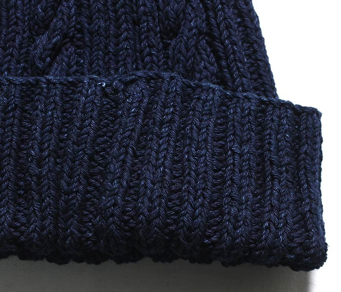 [送料無料]インバーアラン/INVERALLAN 英国製 デニムコットン ダブルウェイト アランニットキャップ ワッチキャップ RIB & CABLE HAT DENIM COTTON DOUBLE WEIGHT (22F-DNM-COTTON-WW-HAT)