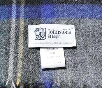 [送料無料]ジョンストンズ/JOHNSTONS 英国製 ''K324 WITH GREY G(VU6124)''カシミアストール(JOHNSTONS-STOLE-VU6124(WD000056))