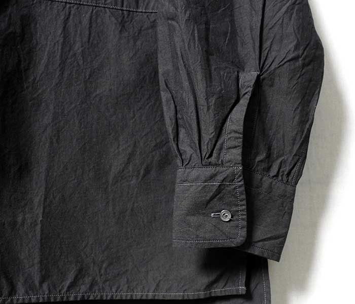 [送料無料]キャプテン サンシャイン/KAPTAIN SUNSHINE 日本製 フライフロント バンドカラーシャツ フィンクスコットン シャトルウェザー 100/2 FINX COTTON SHUTTLE WEATHER FLY FRONT BAND COLLAR SHIRTS (KS8SSH06-CHARCOAL)