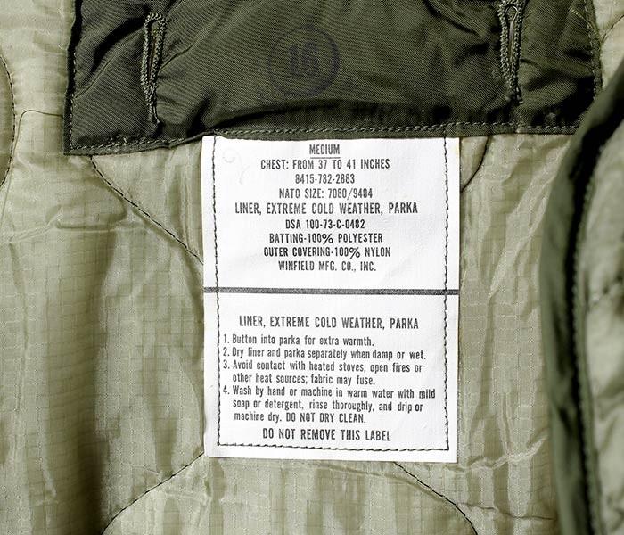 デッドストック/DEADSTOCK アメリカ製 ''MEDIUM'' 米軍 70's M-65 フィッシュテイルパーカー用 キルティングライナー (M65-FISH-LINER)