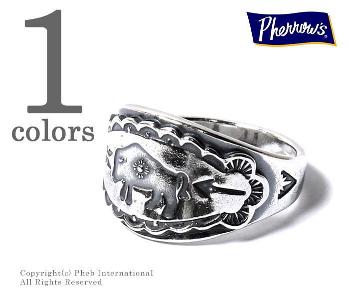 [送料無料]フェローズ/PHERROW'S(PHERROWS) × ピース/PEACE 日本製 バッファロー リング 指輪 (PP-RING1)