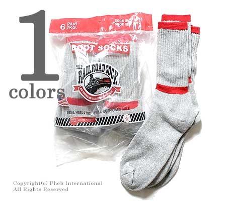 レイルロードソック/RAILROAD SOCK アメリカ製 ''6P BOOT SOCKS''クルーブーツソックス/靴下(6-PAIR BAG CREW BOOT SOCK-RED TOP AND STRIPE(6014))