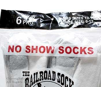 レイルロードソック/RAILROAD SOCK アメリカ製 ''6P NO SHOW''ノーショーソックス/靴下(MEN'S 6 PAIR NO SHOW-GREY HEEL&TOE(6066))