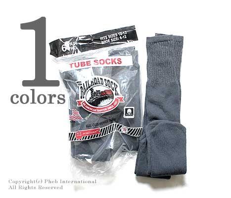 レイルロードソック/RAILROAD SOCK アメリカ製 ''6P TUBE DARK GRY''チューブソックス/靴下(MEN'S 6 PAIR TUBE-DARK GREY(6076))