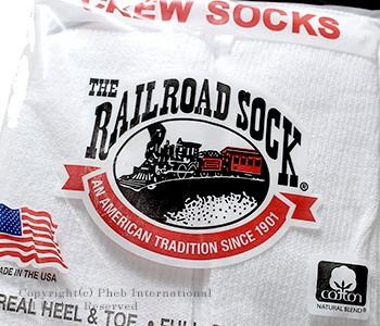 レイルロードソック/RAILROAD SOCK アメリカ製 ''6P CREW HEEL&TOE GRY''クルーソックス/靴下(MEN'S 6 PAIR CREW-GREY HEEL&TOE(6090))