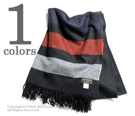 [送料無料]ロイヤルヘザー/ROYAL HEATHER by ジョンストンズ/JOHNSTONS 英国製 ''Black with Stripes(AU0139)''ラムズウールストール (ROYALHEATHER-STOLE-AU0139(WD000127))