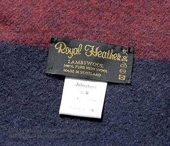 [送料無料]ロイヤルヘザー/ROYAL HEATHER by ジョンストンズ/JOHNSTONS 英国製 ''NAVY WITH MULTI HORI(VU9055)''ラムズウールストール(ROYALHEATHER-STOLE-VU9055(WD000127))