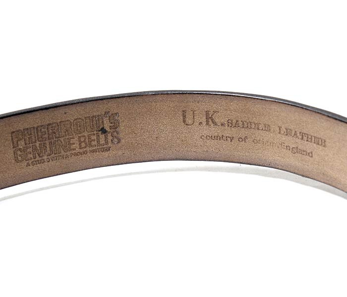[送料無料]フェローズ/PHERROW'S(PHERROWS) 日本製 ''ブラスバックル'' 極太シングルピン レザーベルト UKサドルレザー (SBB1-BARSS-SINGLE)