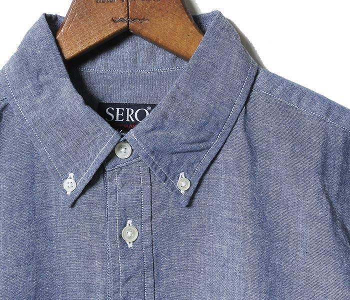セロ/SERO 日本製 半袖 プルオーバー シャンブレー ボタンダウンシャツ (SERO-CHAMBRAY-SS-JP(SR70-CH621M))