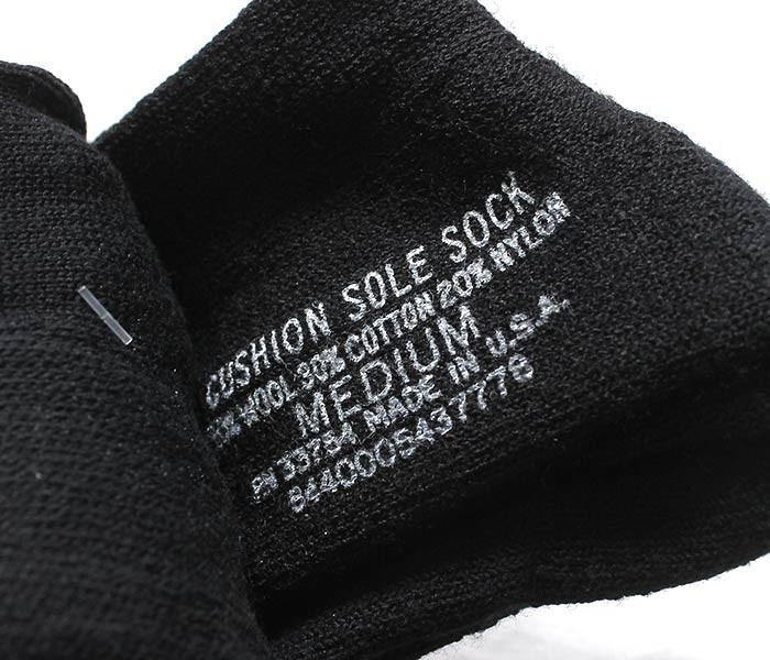 デッドストック/DEADSTOCK アメリカ製 ''ブラック/ミディアム'' アメリカ軍 3パックミリタリー クッション ウールソックス ブーツソックス 靴下 CUSHION SOLE SOCKS (USMIL-3PACK-SOX-BLK-MEDIUM)