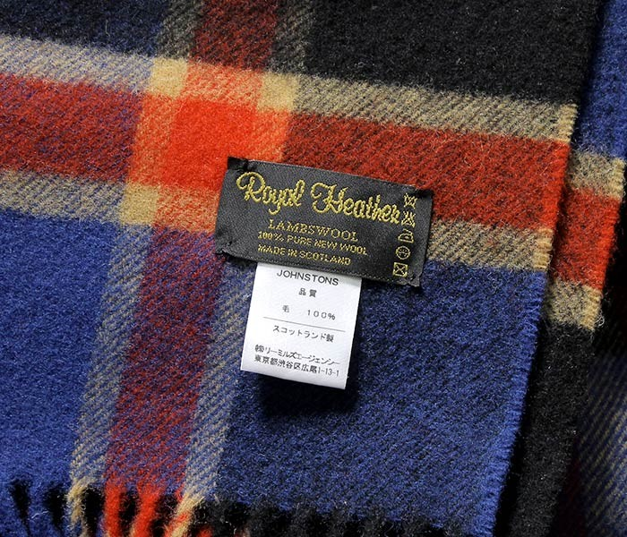 [送料無料]ロイヤルヘザー/ROYAL HEATHER by ジョンストンズ/JOHNSTONS 英国製 ''Blue black red gold(AU1753)'' ラムズウールストール (ROYALHEATHER-STOLE-AU1753(WD000127))