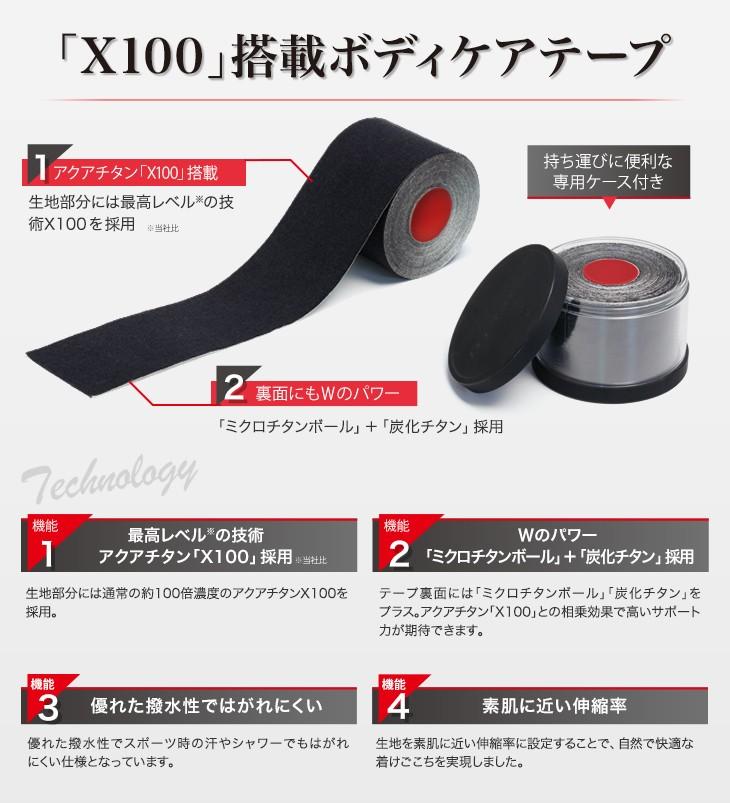 ファイテン チタンテープX100 ブラック(phiten)